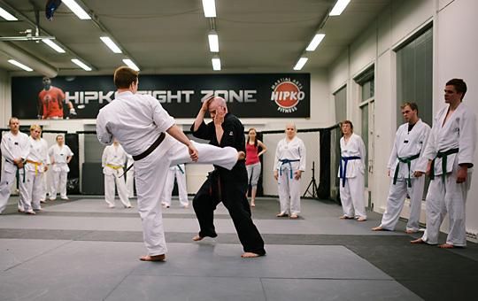Taekwondon harjoittelua Hipkossa