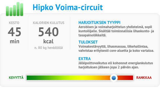 Hipko Voima-Circuit - kesto - kalorien kulutus - harjoituksen tyyppi