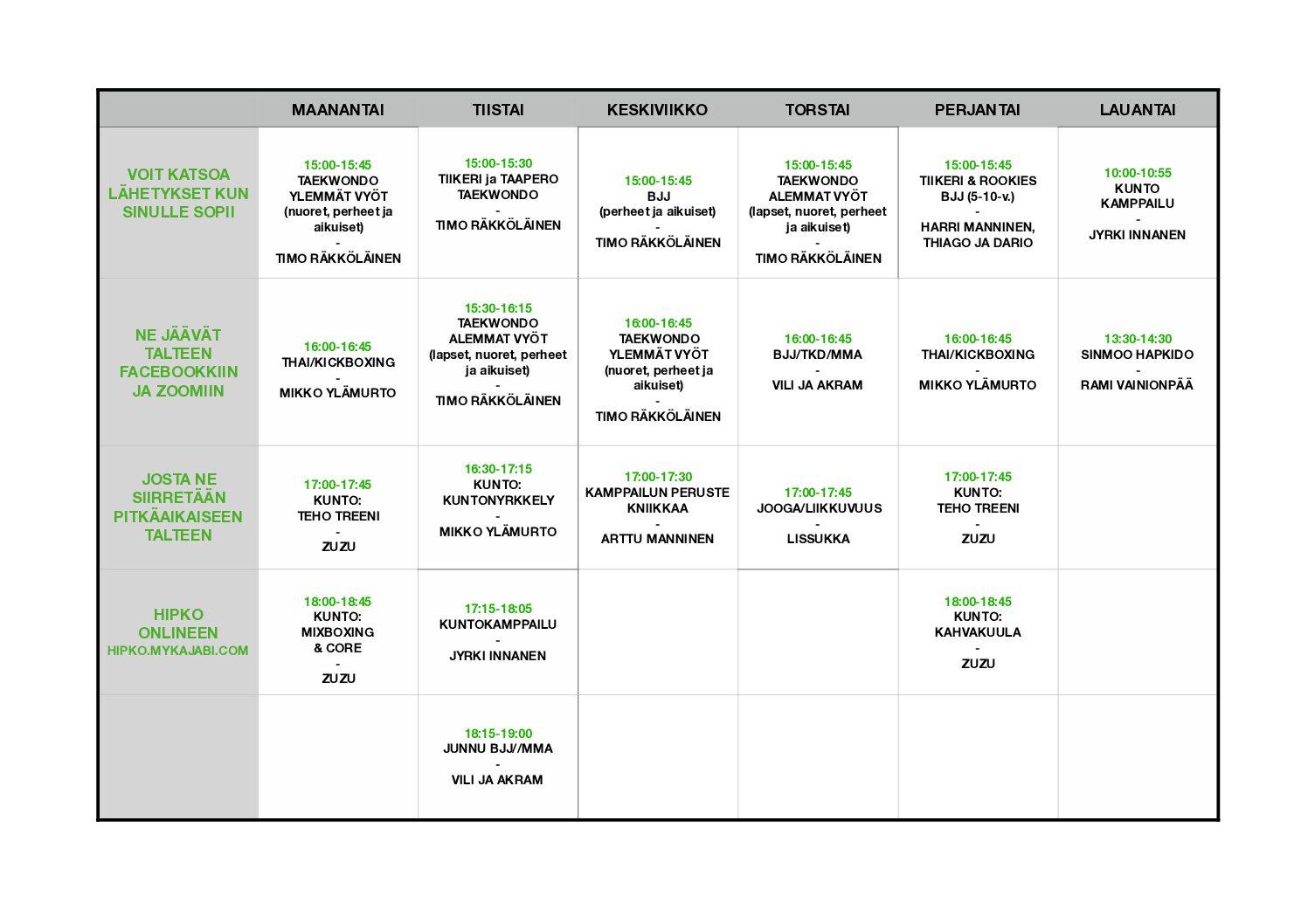 LIVE-treenien aikataulut