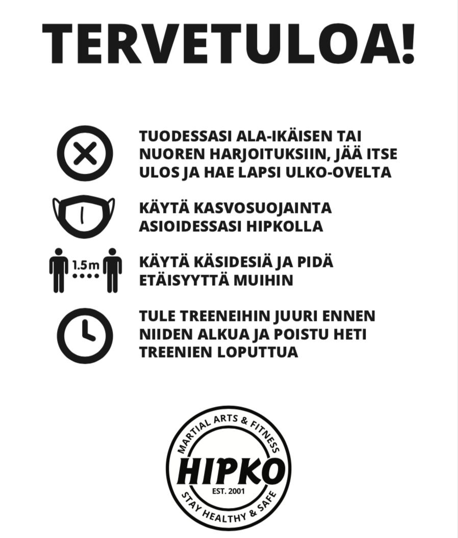 Ohjeistus ja suositukset Hipkon saleilla 10.1.2021 alkaen